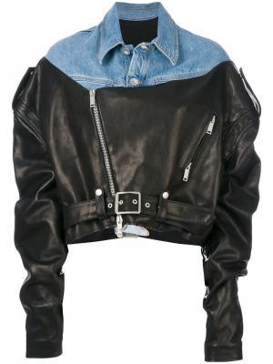 Байкерская куртка с контрастной джинсовой вставкой Unravel Project. Цвет: чёрный