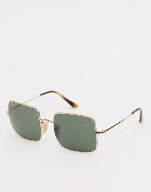 Золотистые солнцезащитные очки в квадратной оправе Ray-ban ORB1971-Золотой