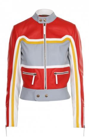 Укороченная кожаная куртка воротником-стойкой Roberto Cavalli. Цвет: разноцветный