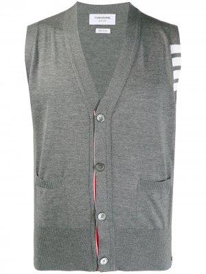 MEDIUM GREY FINE MERINO WOOL V-NECK 4-BAR VEST Thom Browne. Цвет: 035 med grey