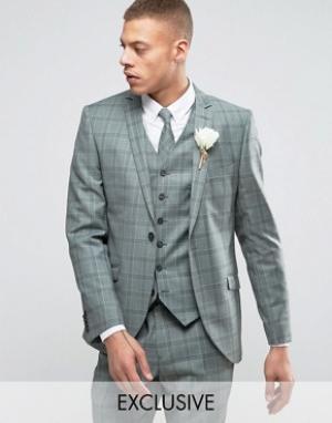 Приталенный пиджак в клетку Summer Wedding-Зеленый Heart & Dagger