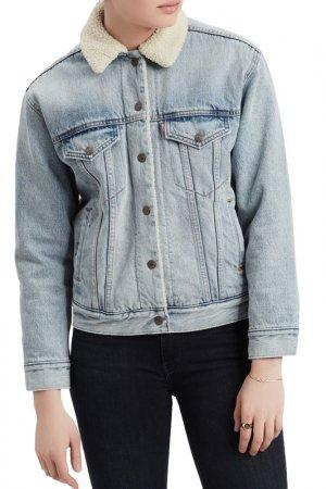 Куртка джинсовая EX-BF SHERPA Levis Levi's. Цвет: голубой