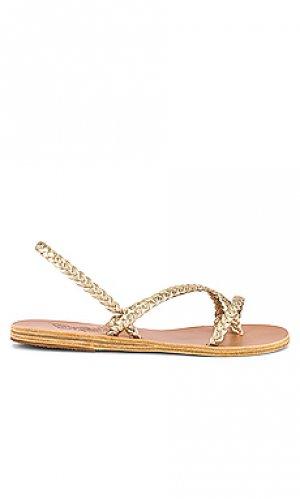 Сандалии с ремешками yianna Ancient Greek Sandals. Цвет: металлический золотой