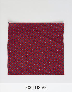Платок для пиджака с мелким геометрическим принтом Heart & Dagger. Цвет: красный