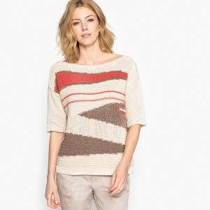 Пуловер с короткими рукавами из оригинального трикотажа ANNE WEYBURN. Цвет: рисунок разноцветный
