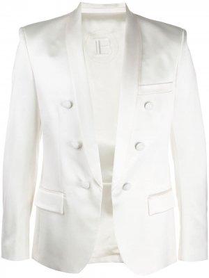 Пиджак с логотипом Balmain. Цвет: белый