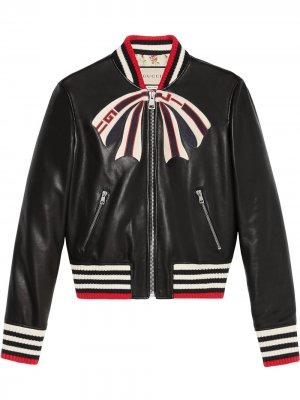 Куртка-бомбер с бантом Gucci. Цвет: черный