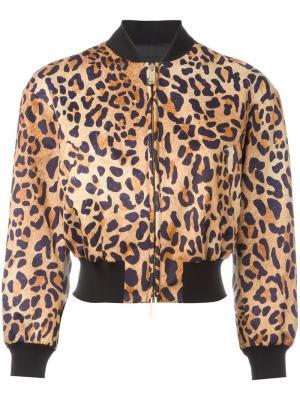 Куртка бомбер с леопардовым узором Dsquared2. Цвет: коричневый