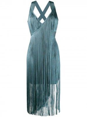 Платье миди с бахромой Hervé Léger. Цвет: синий