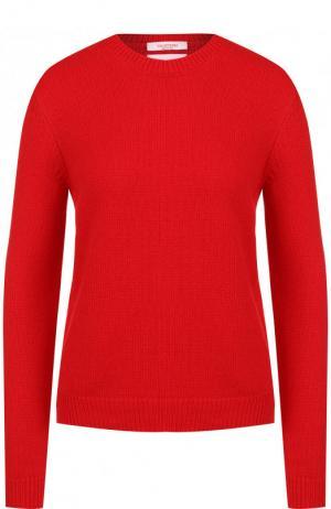 Однотонный кашемировый пуловер с круглым вырезом Valentino. Цвет: красный
