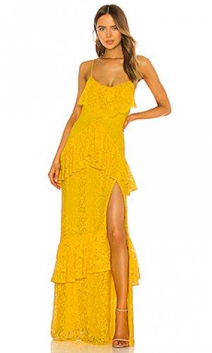 Вечернее платье justine Michael Costello. Цвет: желтый