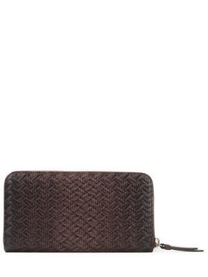 Кожаный кошелек на молнии Santoni. Цвет: коричневый