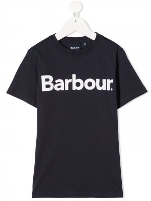 Футболка с короткими рукавами и логотипом Barbour Kids. Цвет: синий