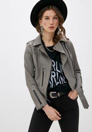 Куртка кожаная AllSaints. Цвет: серый