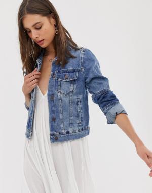 Джинсовая куртка в стиле пэчворк -Синий Free People