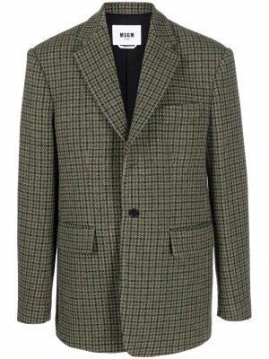 Шерстяной пиджак в клетку MSGM. Цвет: зеленый