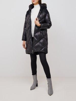 Длинная женская куртка DUNO. Цвет: chernyy
