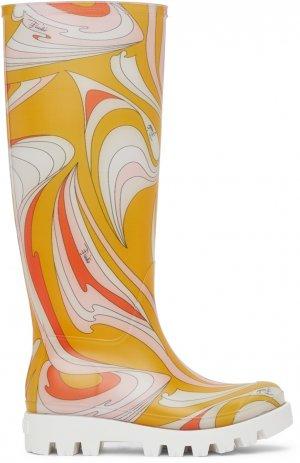 Multicolor Vortici-Print Rain Boots Emilio Pucci. Цвет: 069 giallo