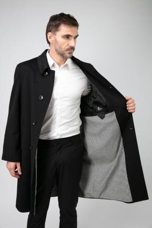 Длинное прямое мужское пальто из Италии с глухим воротником Teresa Tardia. Цвет: черный