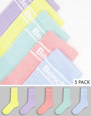Набор из 3 пар спортивных носков пастельных оттенков с логотипом Candela-Multi Bench