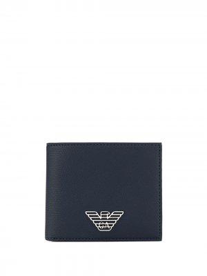 Бумажник с логотипом Emporio Armani. Цвет: синий