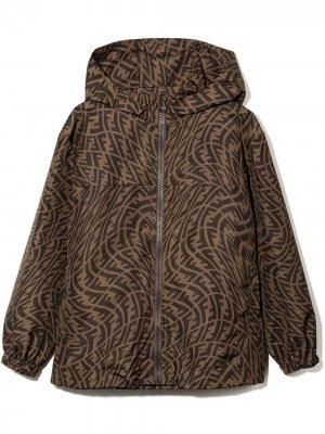 Куртка с капюшоном и принтом FF Vertigo Fendi Kids. Цвет: коричневый