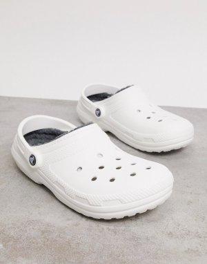 Бело-серые классические клоги с ворсовой подкладкой -Серый Crocs