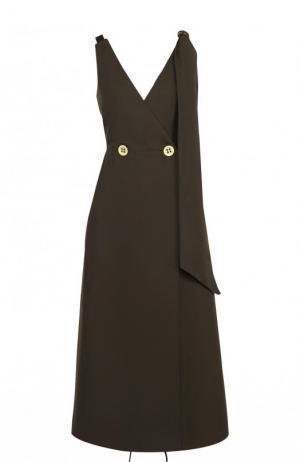 Приталенное хлопковое платье-миди Walk of Shame. Цвет: коричневый