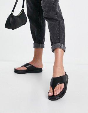 Черные кожаные шлепанцы на плоской платформе Erin-Черный цвет Vagabond