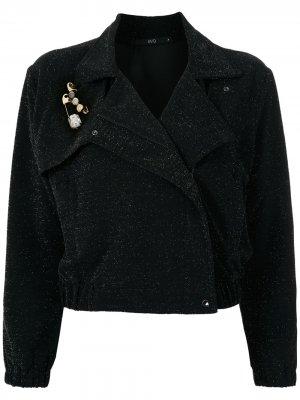 Байкерская куртка с блестками Eva. Цвет: черный