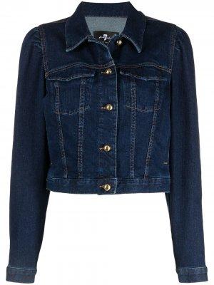 Укороченная джинсовая куртка 7 For All Mankind. Цвет: синий