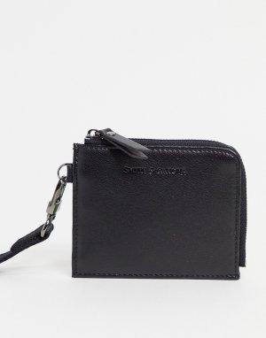 Кожаная кредитница с ремешком через плечо Smith & Canova-Черный цвет And Canova
