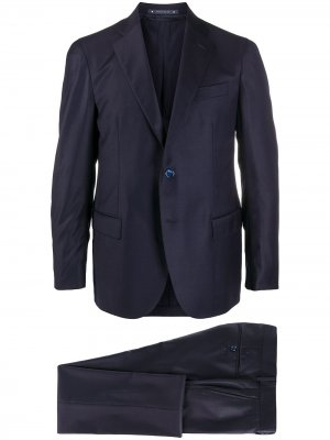 Костюм с однобортным пиджаком Bagnoli Sartoria Napoli. Цвет: синий