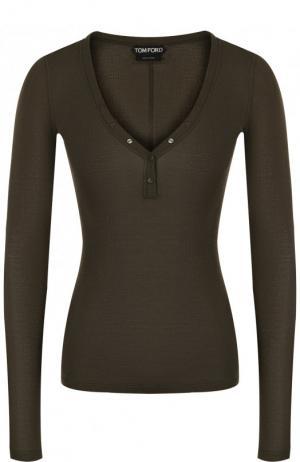 Облегающий шелковый пуловер с V-образным вырезом Tom Ford. Цвет: хаки
