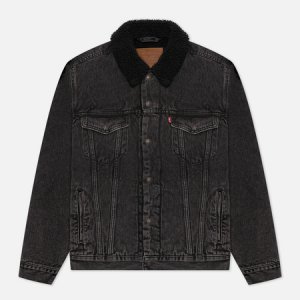 Мужская джинсовая куртка Levis Type III Sherpa Trucker Levi's. Цвет: серый