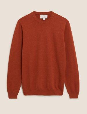 Джемпер из чистого хлопка с круглым вырезом Big & Tall M&S Collection. Цвет: оранжевый