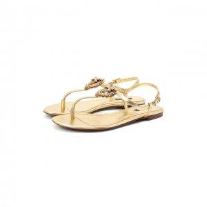 Кожаные сандалии Dolce & Gabbana. Цвет: золотой