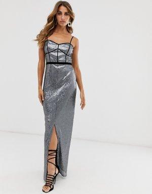 Платье макси на бретельках с эффектом металлик -Серый Little Mistress