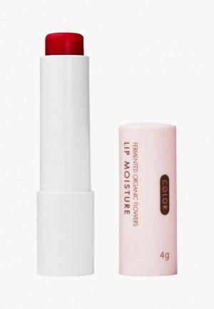 Бальзам для губ Whamisa на основе цветочных ферментов  Organic Flowers Lip Moisture (Natural Fermentation), 4 г. Цвет: розовый