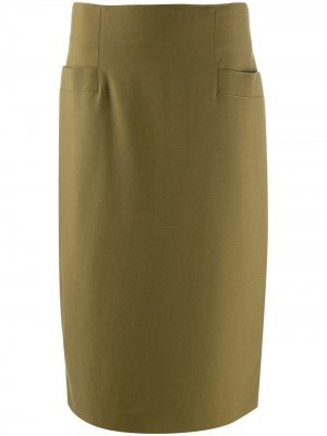 Юбка прямого кроя с завышенной талией 1990-х годов Ballantyne Vintage. Цвет: зеленый