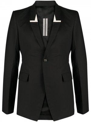 Однобортный пиджак с лацканами-шалькой Rick Owens. Цвет: синий