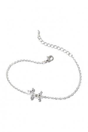 Серебристый браслет с фигуркой собаки Aqua. Цвет: серебряный