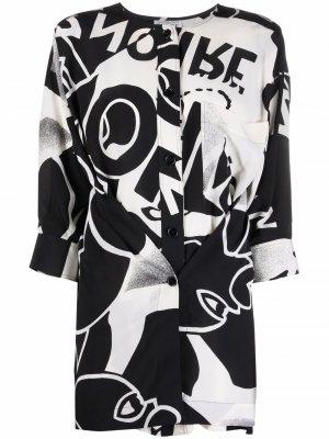 Блузка с абстрактным принтом и запахом Gianfranco Ferré Pre-Owned. Цвет: черный