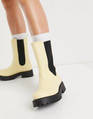 Желтые ботинки из искусственной кожи на массивной подошве Maddie-Желтый Monki