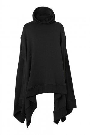 Черное пончо с капюшоном Burberry. Цвет: черный