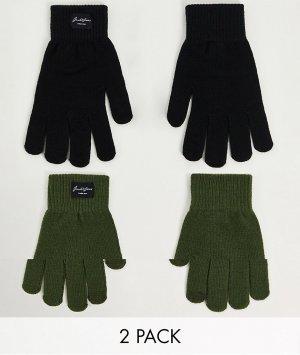 Набор из 2 пар перчаток черного и хвойно-зеленого цвета -Разноцветный Jack & Jones