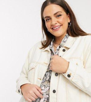 Бежевая джинсовая куртка с контрастными швами -Кремовый Noisy May Curve