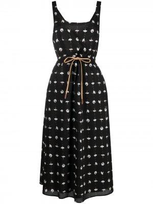 Платье с цветочным принтом Alysi. Цвет: черный