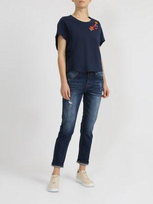 Укороченные джинсы Alessandro Manzoni. Цвет: temno_siniy