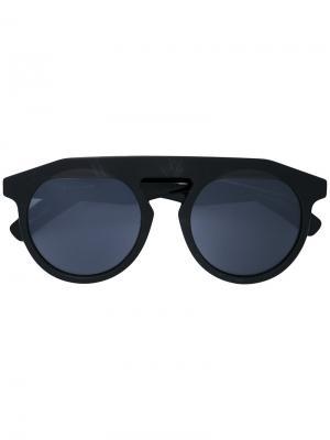Солнцезащитные очки в толстой оправе Yohji Yamamoto. Цвет: чёрный
